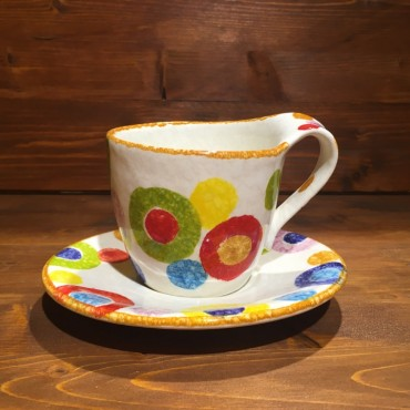 Cappuccino or Tea Cup with Saucer Rustic Rims
