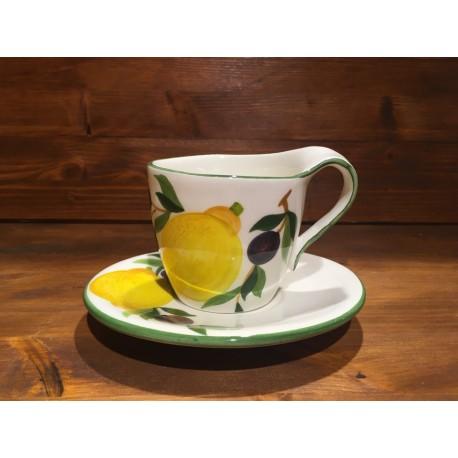 Tazza Cappuccino o Tè con Piattino Limoni e Olive