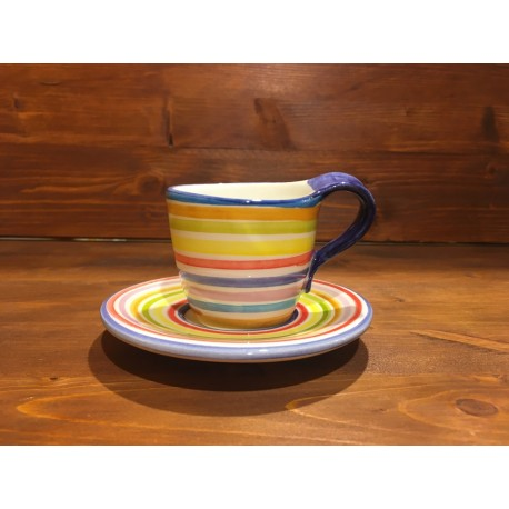 Cappuccino or Tea Cup decorated with lines.