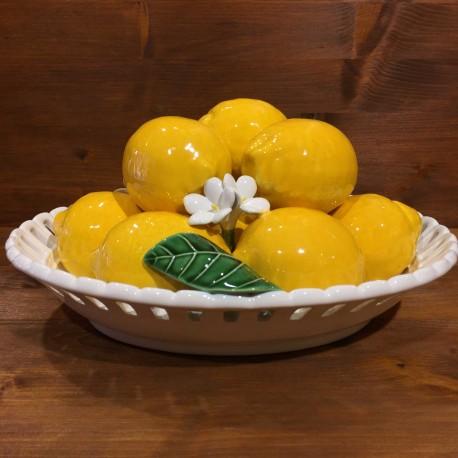Cestino ovale traforato con 10 Limoni 3 Foglie 3 Fiori
