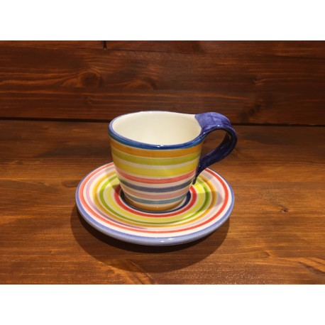 Rustic Espresso Cup decorated with stripes