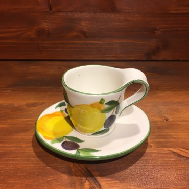 Rustic Espresso Cup decorated with Lemons and Olives