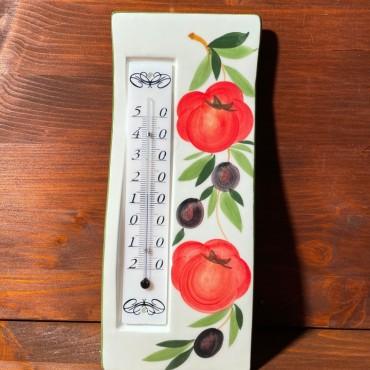 Wandthermometer - Tomaten und Oliven