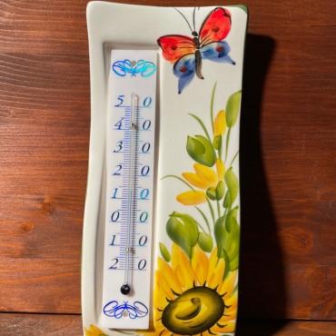 Wandthermometer - Sonnenblume und Schmetterling