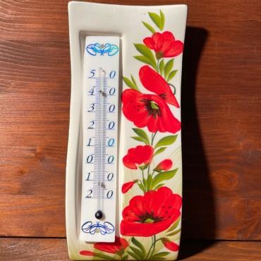 Wandthermometer - Mohnblumen