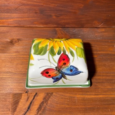 Butter dish - Sunflower and Butterfly