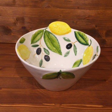 Cone shaped bowl lemon and olives relief