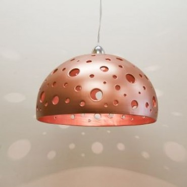 Copper Half Sphere Chandelier with Holes