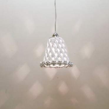 Cone Webbing Chandelier with White Applied Roses