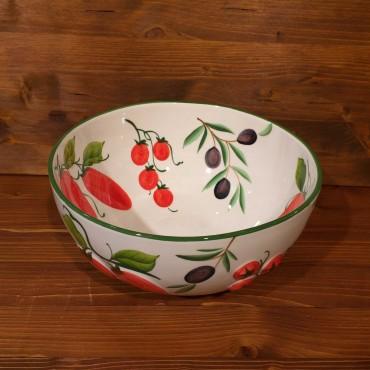 Ciotola sfera interno dipinto esterno rilievo Pomodori Olive