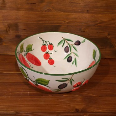 Olive Sphere Tomato Bowl inside painted, outside relief
