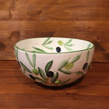 Sfera Olive bowl inside painted, outside relief