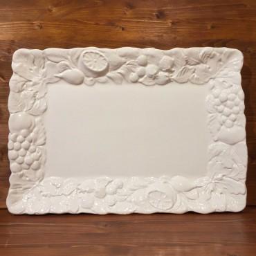 Rectangular White Relief Fruit Plate