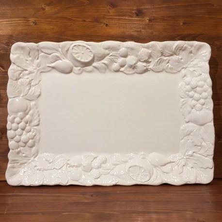 Piatto rettangolare frutta rilievo bianco