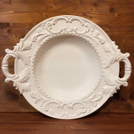 Centro tavola fondo con manici stile impero rilievo bianco