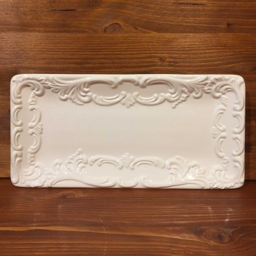 White Relief Empire Style Rectangle Plate