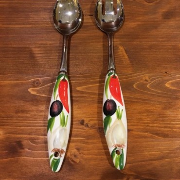 Salad Server Garlic Chili Pepper Olives Inox and Ceramics