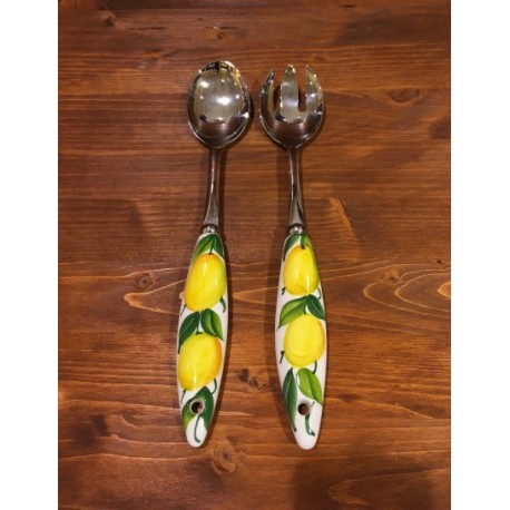Salad Server Lemon Inox and Ceramics