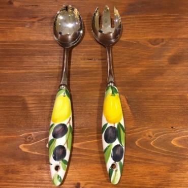 Salat Besteck Zitrone und Oliven Inox und Keramik