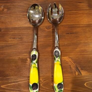 Coppia Insalata Limone e Oliva Acciaio Inox e Ceramica