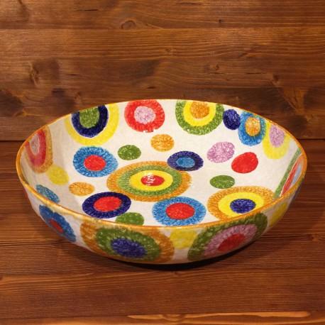 Low Round Bowl Rustic Circles