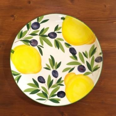 Piatto Tondo Ø 28 CM Limone e Olive