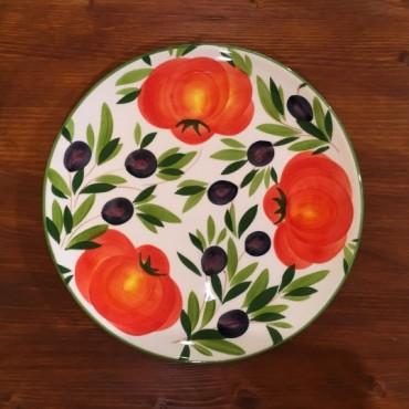 Piatto Tondo Ø 28 CM Pomodoro e Olive